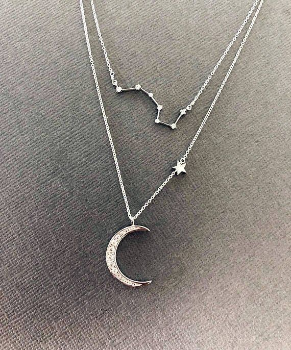 Crescent moon necklace Wedding necklace celestial Jewelry Christmas gift for her. Sterling silver and gold plated moon pendant chain