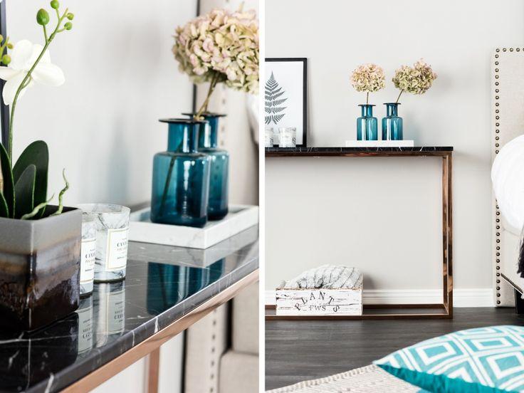Marmorbord i svart och koppar CARRIE Avlastningsbord 120 Koppar Svart Inspiration från