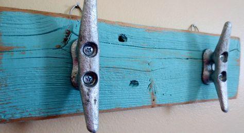 Turquoise Boat Cleat Hooks Nautical Decor Recycled Wood Ocean Beach Decor Coastal Decor Key Hooks Beach Towel Hooks Upcycled Shabby Chic by StarfishEnterprises on Etsy https://www.etsy.com/listing/231779235/turquoise-boat-cleat-hooks-nautical