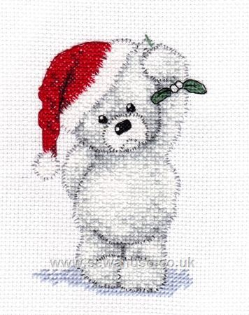 cross stitch Santa bear