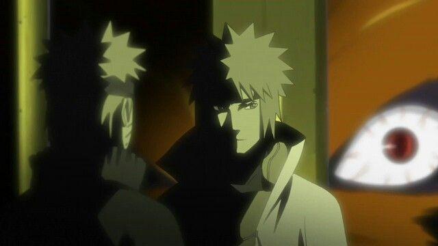Minato detiene a Naruto antes de que libere el sello.