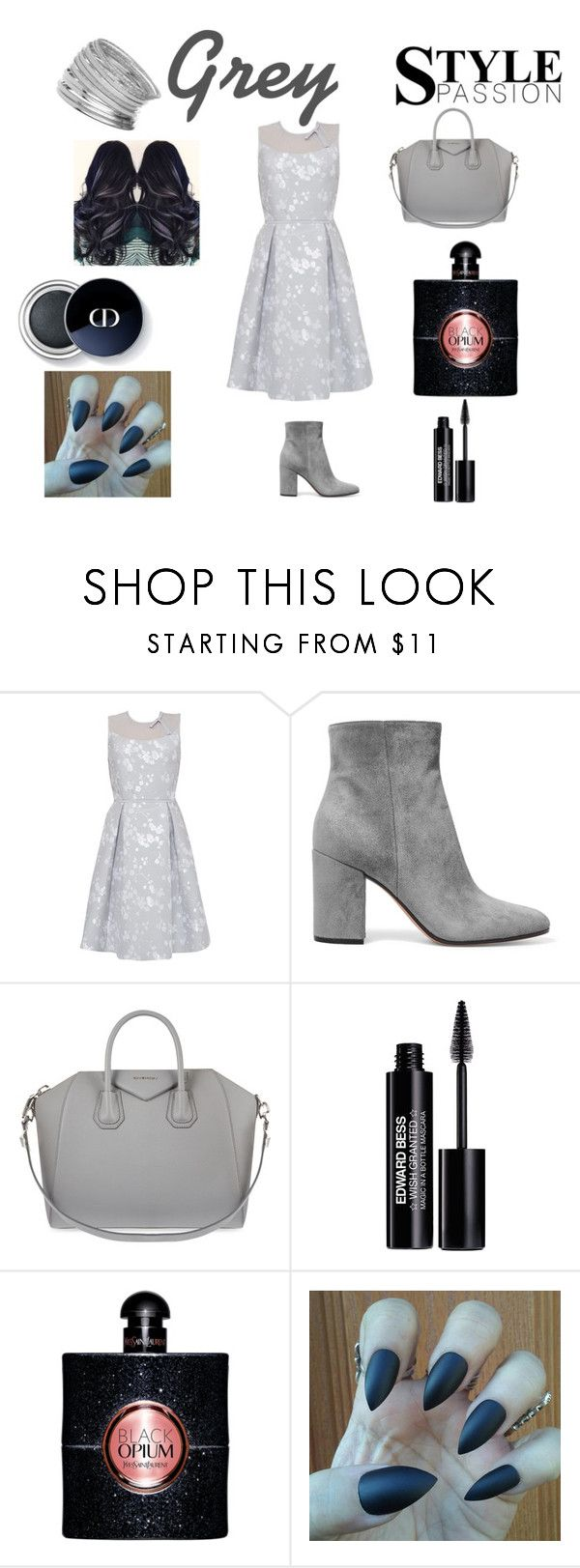 """""""Grey chic"""" by lilmayxox ❤ liked on Polyvore featuring Ted Baker, Gianvito Rossi, Givenchy, Edward Bess, Yves Saint Laurent, Miss Selfridge, dress and grey"""
