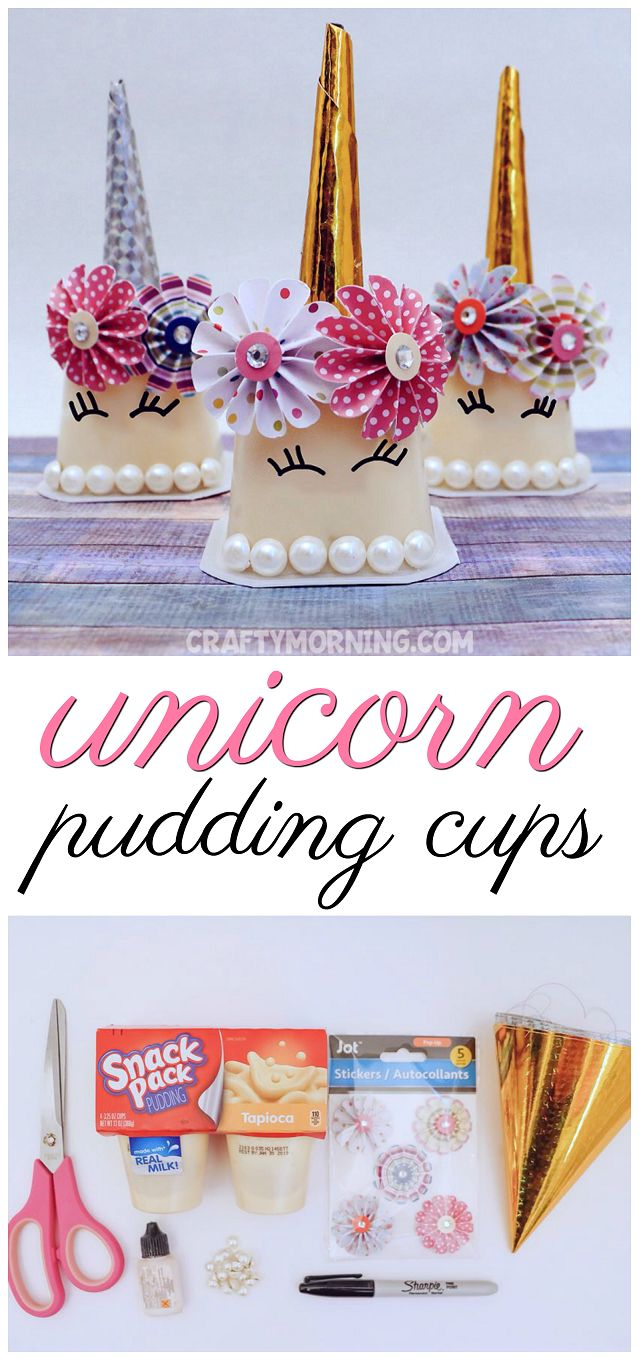 Make unicorn pudding cups for birthday party favors. Birthday party decorations and snacks! Would also be cute for an Easter basket filler. So cute and all the items are from the dollar store. Snack pack pudding idea