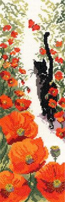 follow me, cat with poppies bookmark - seed beads on loom and then sewn or glued on to stiff piece of leather idea