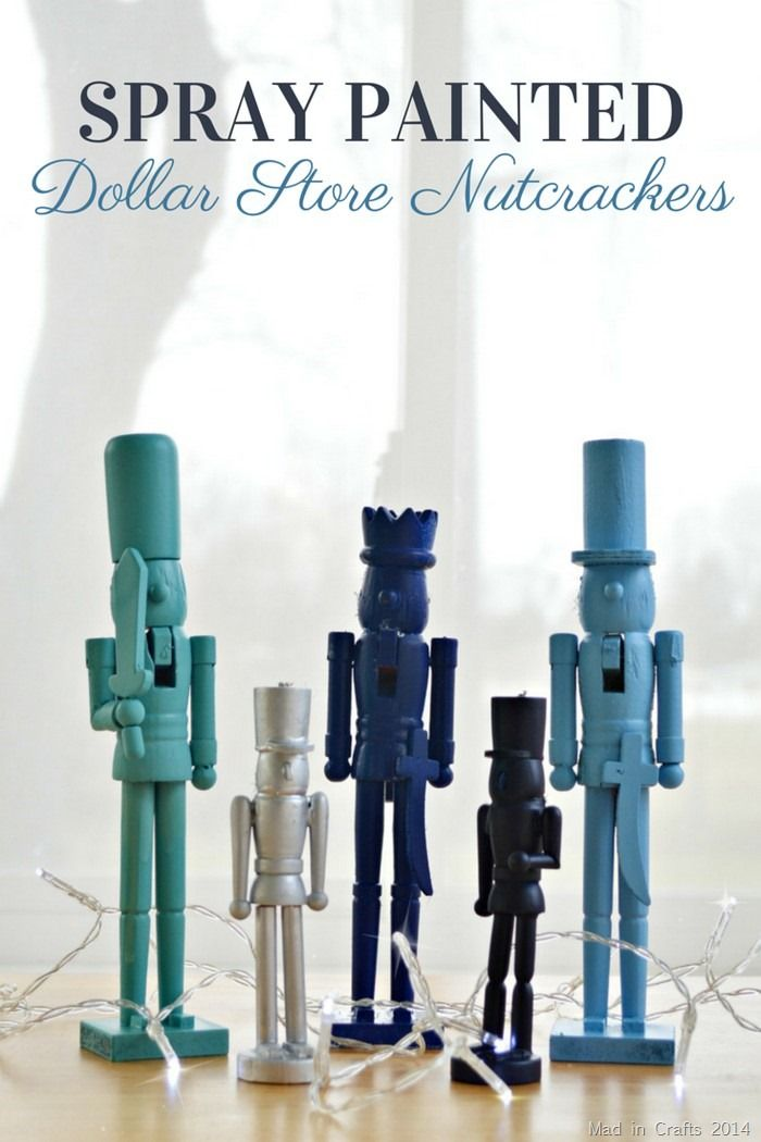Spray Painted Dollar Store Nutcrackers - Mad in Crafts
