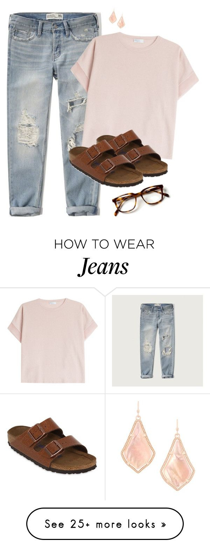"""boyfriend jeans & birks"" by juliabrueggemeyer on Polyvore featuring Abercrombie & Fitch, Brunello Cucinelli, Birkenstock and Kendra Scott"