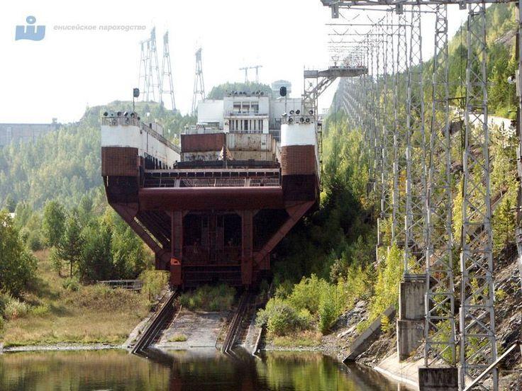 Судоподъемник Красноярской ГЭС. Ship elevator, Hydro-electric power station, Krasnoyarsk