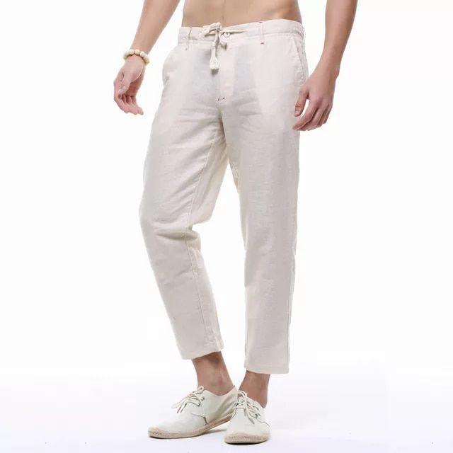 d27e8746e07d Online Shop WMSHUO Men s Summer Casual Pants Natural Cotton Linen  Ankle-Length White Linen Harem Pants Y236
