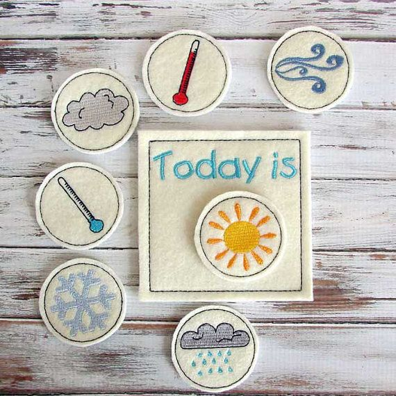 Kids love keeping track of the daily weather. Felt weather chart featuring 7 weather symbols is a great educational toy for toddlers and