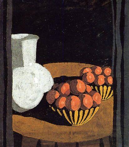 Natura morta con vaso e mele, 1918–1918 by Felice Casorati (Italian, 1886–1963) | Tempera on Paper | 58 x 51 cm. (22.8 x 20.1 in.)