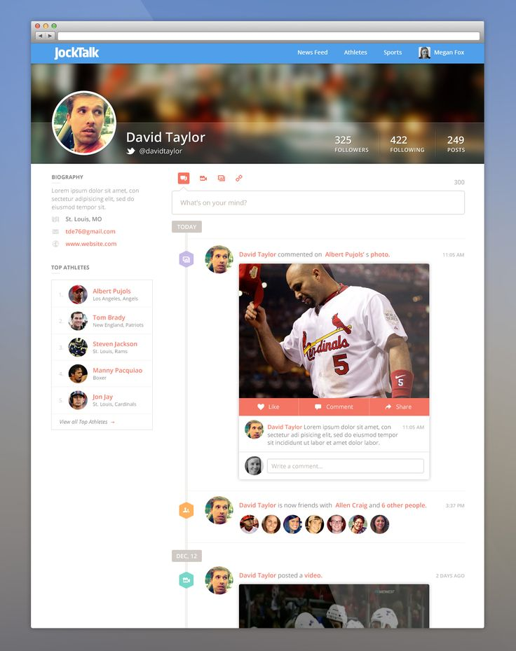 Profile View by Megan Fox - Web interface UI UX
