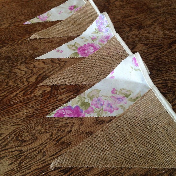 Hessian & Purple Floral Bunting