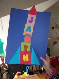 Name rocket for a space theme. With same-size letter squares, this can easily tie in math skills to compare heights of rockets.