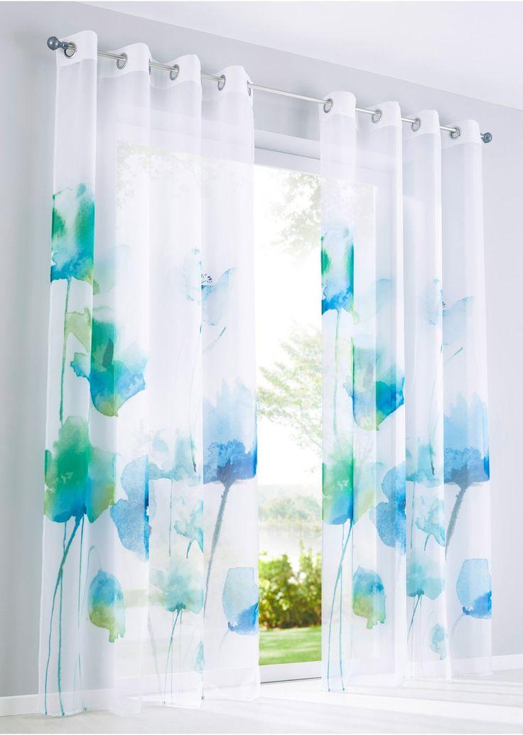 Bekijk nu:Transparant gordijn van voile met digitale print, waarbij de schitterende kleuren prachtig uitkomen. Mooi bloemendessin in verfrissende lentekleuren.