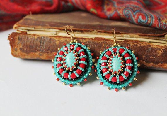 Turchese ricamo rosso orecchini perline penzolare orecchini perline orecchini rosso turchese gioielli di ricamo di perline orecchini fatte su ordinazione