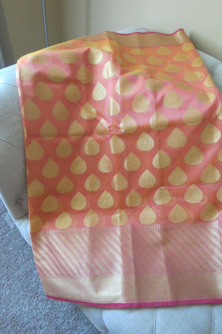 Pure Chanderi Silk Saree- sari by ZainabBoutique on Etsy