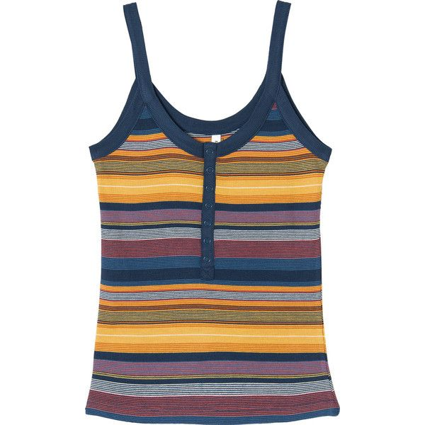 RVCA Women's Second Thoughts Striped Tank Top ($45) ❤ liked on Polyvore featuring tops, dark denim, blue top, rib tank top, ribbed tank tops, fitted tank tops and vintage tops