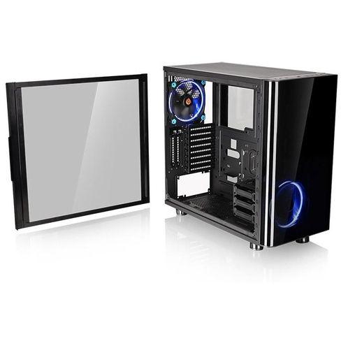 """View 31 TG  De View 31 TG van Thermaltake is een Midi Tower met plaats voor een ATX voeding en zijpanelen uit tempered glas . De behuizing beschikt over drie interne 35"""" inbouwsloten en acht  twee Full Size slotopeningen. De View 31 TG wordt geleverd met twee blauwe Riing casefans en biedt plaats aan vijf extra casefans. De behuizing biedt plaats aan grafische kaarten met een lengte tot 420mm en CPU-koelers met een maximale hoogte tot 180mm. Geniet door het transparante zijpaneel van de…"""