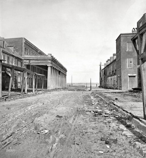 "1865. Charleston, South Carolina. Vendue Range looking east from near the corner of East Bay Street."" Aftermath of the Great Fire of 1861 and bombardment by the Federal Navy."