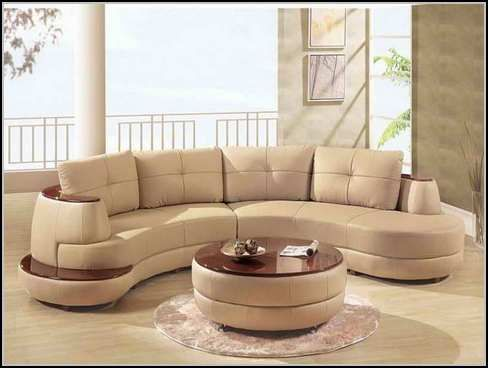 Furniture, Beige Sectional Sofa Plus Sofa Table Stand Above Round Rug  Perfecting Display Of Contemporary Living Room Enchanting Small S.