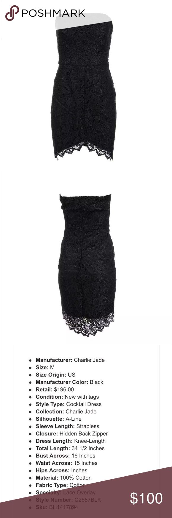 Charlie Jade Little Black Cocktail Dress New with tags. Gorgeous black lace overlay dress, slightly longer in back. charlie jade Dresses