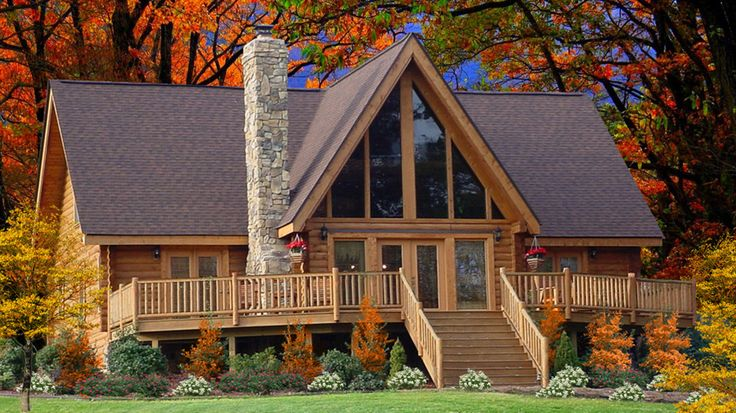 Wonderful medium-size log home, the Ashland features 3 bedrooms, 2 and 1/2 baths, 2 stories and fantastic glass front with 2027 sq. ft. of family space.