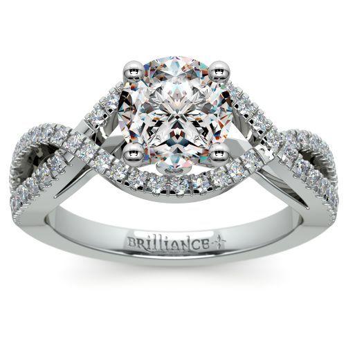 Cross Split Shank Diamond Engagement Ring in White Gold | Image 01