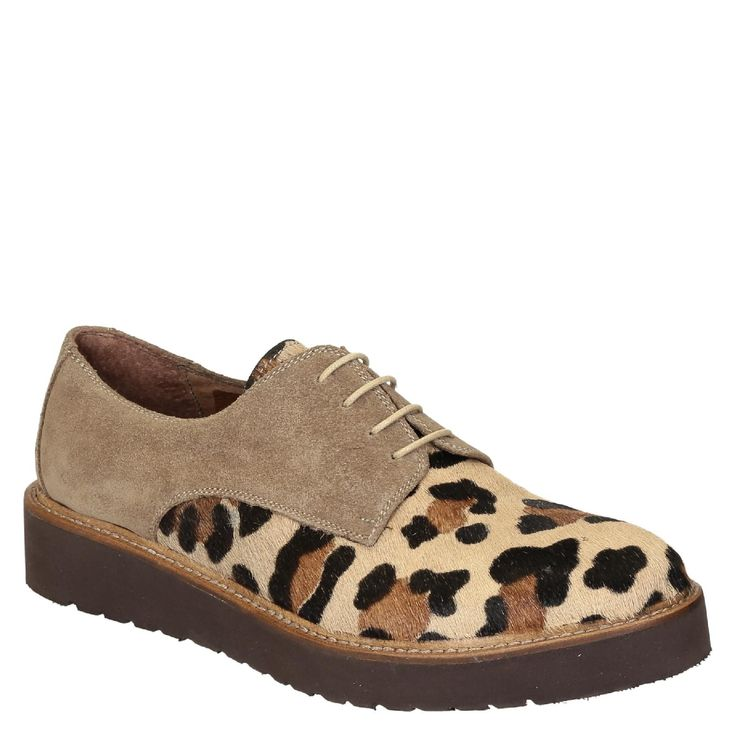 Derby shoes in leopard print pony leather and suede - Italian Boutique €171