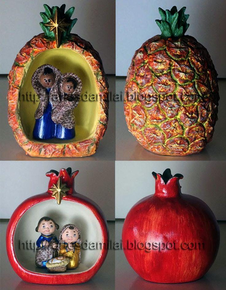 Ananás e Romã pintados e com decoupage nas figuras
