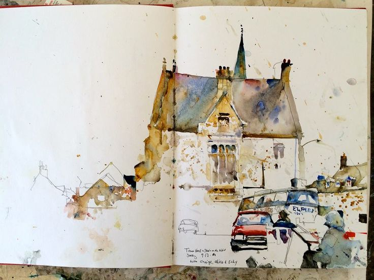 A sketchbook painting done in England.By Charles Reid.