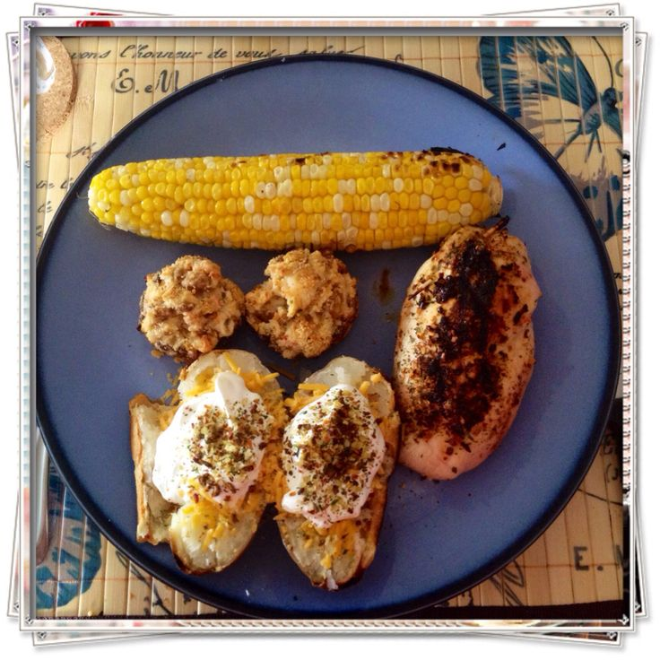 Crab & Shrimp stuffed chicken & mushroom caps. #Epicure #Crab #Dip  Grilled baked potato #Epicure #bacon topper.  Grilled corn with lime & butter.