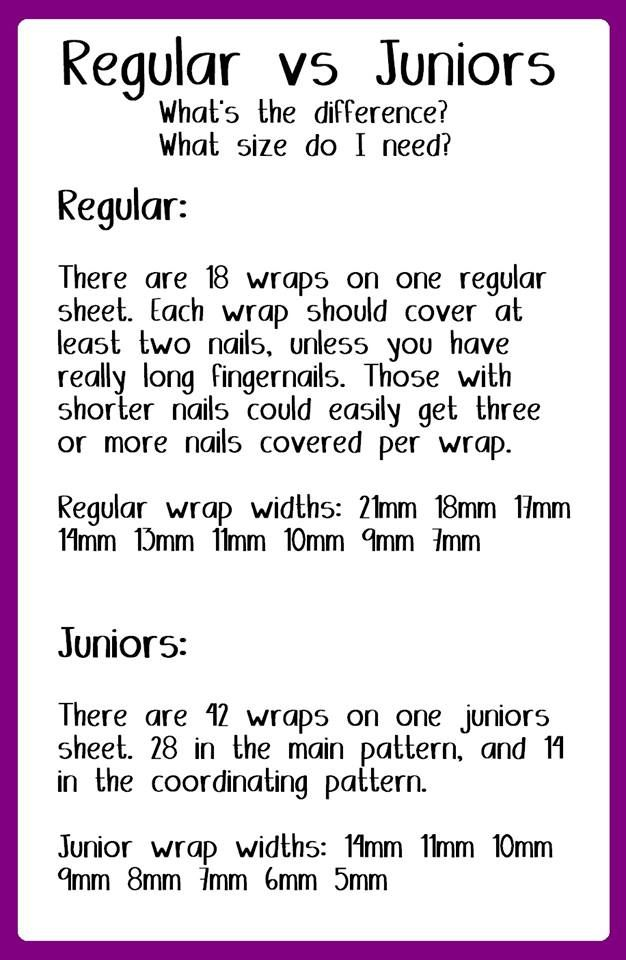 Regular Wraps vs. Juniors - To order, to looks at over 300 Jamberry designs visit my page at- http://katrinarichardson.jamberrynails.net