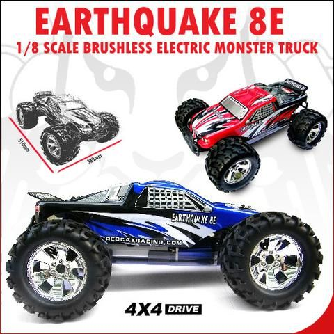 EARTHQUAKE 8E 1/8 SCALE BRUSHLESS ELECTRIC MONSTER TRUCK BLUE - OMGRC online Hobby shop