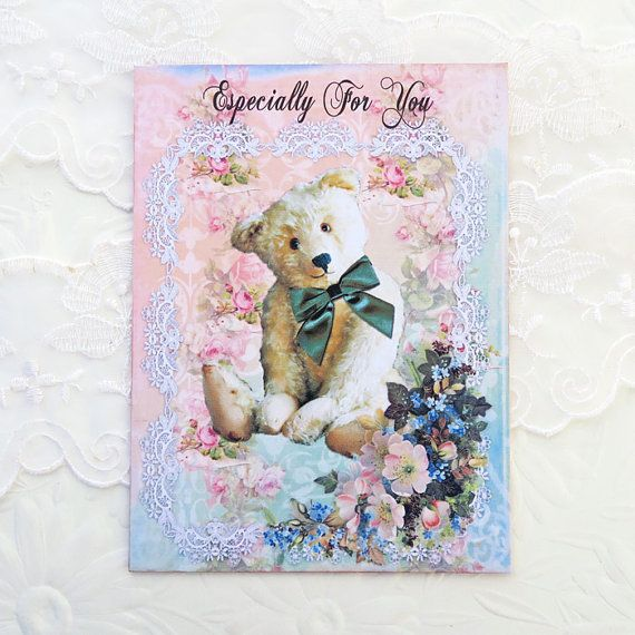 Teddy Bear Note Cards Blank Note Cards by EnchantedQuilling