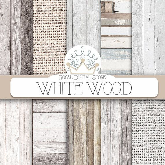 """Wood digital paper: """"WHITE WOOD"""" with wood background, white wood texture, rustic wood, wood scrapbook paper and burlap papers"""