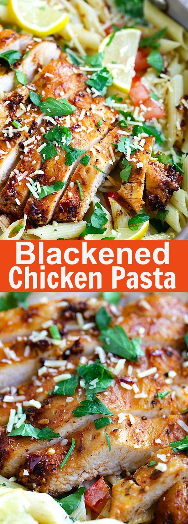Blackened Chicken Pasta – Creamy pasta with spicy blackened spice chicken breast. Family friendly dinner has never been so good | rasamalaysia.com
