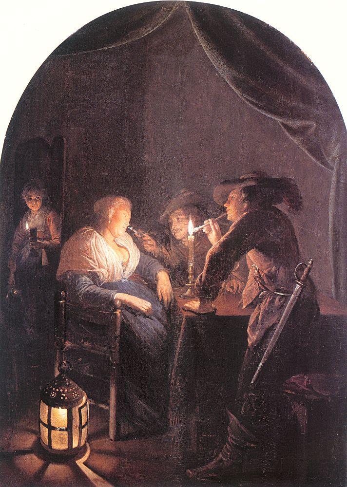 Gerrit Dou: Slapende vrouw geplaagd door twee soldaten. ca. 1660-1665. Liechtenstein Museum, Wenen. Geinspireerd op Gerard ter Borch (II): Interieur met een man die een slapende soldaat pest, ca. 1652-1653 en op De slapende soldaat, ca. 1656-1657. Verwant aan: Gabriel Metsu: Twee mannen bij een slapende vrouw, ca. 1656-1658. Verwant aan Jan Steen: Interieur met een dronken vrouw en twee rokende mannen, ca. 1664-1668