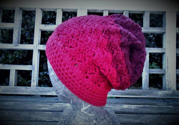 FREE shipping USA. Red slouchy crochet handmade soft hat. 4