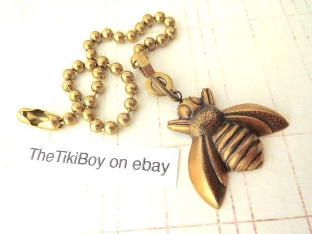 Small Bee Ceiling Fan Pull Chain Antiqued Brass Metal Ball Chain Light Pull New