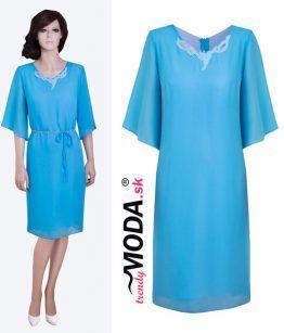 Tyrkysovo modré dámske šaty s aplikáciou– trendymoda.sk
