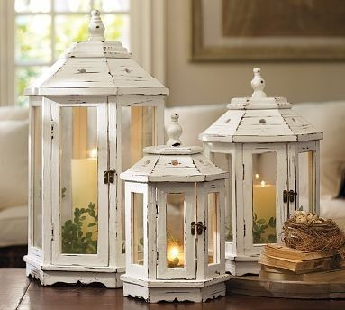 A trio of charmingly lovely shabby chic gazebo inspired lanterns...nice for porch...or christmas..