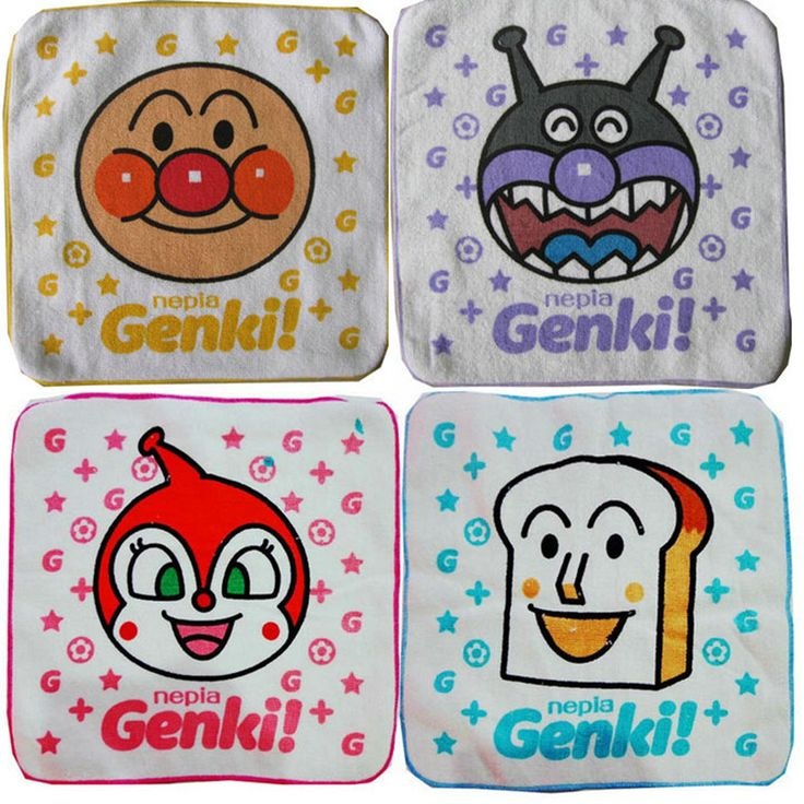 Anpanman cotton terry face towel, square, towels with lanyard, birthday gifts, Christmas gifts