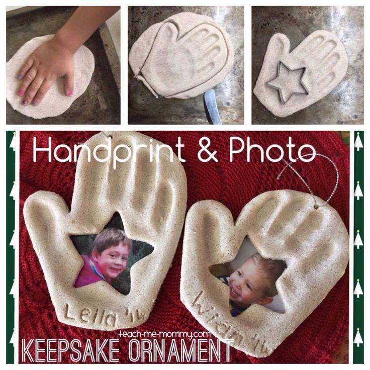 HAND PRINT & PHOTO KEEPSAKE ORNAMENT….love this idea with the beautiful photo!