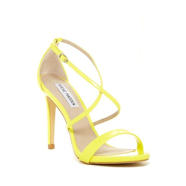 Steve Madden Floriaa Heel Sandal ($50) ❤ liked on Polyvore featuring shoes, sandals, yellow, strap heel sandals, strap sandals, open toe shoes, heeled sandals and strappy high heel sandals