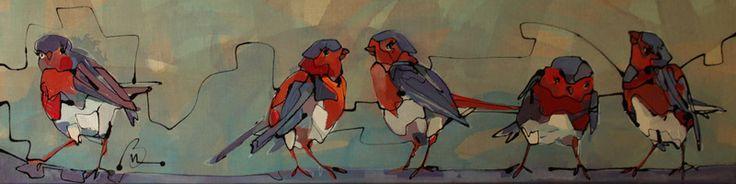 Vogeltjes zijn op een ruw linnen doek geschilderd. De achtergrond is opgebouwd uit lichte blauwe vegen. De vogeltjes zijn vrij gecompositioneerd en kijken allen een andere richting op. Het duo in het midden van het doek hebben alleen oog voor elkaar. Een enkel brutaal vogeltje kijkt de toeschouwer nieuwsgierig aan. 790euro