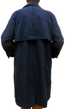 A light all weather coat from British Knights Hong Kong in a water resistant fabric with two pockets,  padded rounded shoulders with no defined seams, a neck button, a back vent and back flap with a full lining. In excellent conditon and top quality. (Has cuff ties with cuffs that have been turned up and sewn so arm length can be a few centimetres longer.)