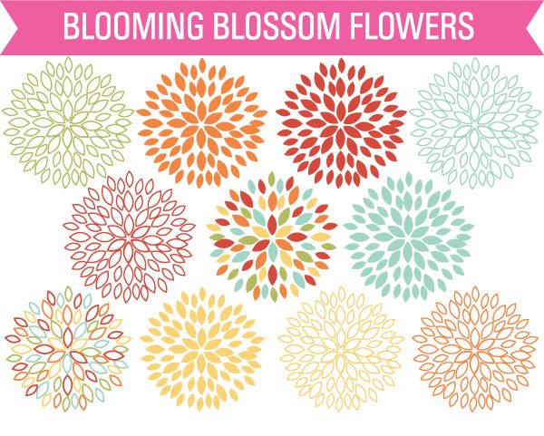 Free Clip Art Set Blossom Flowers from Sonya DeHart Design. Print this on fabric for center quilt square?
