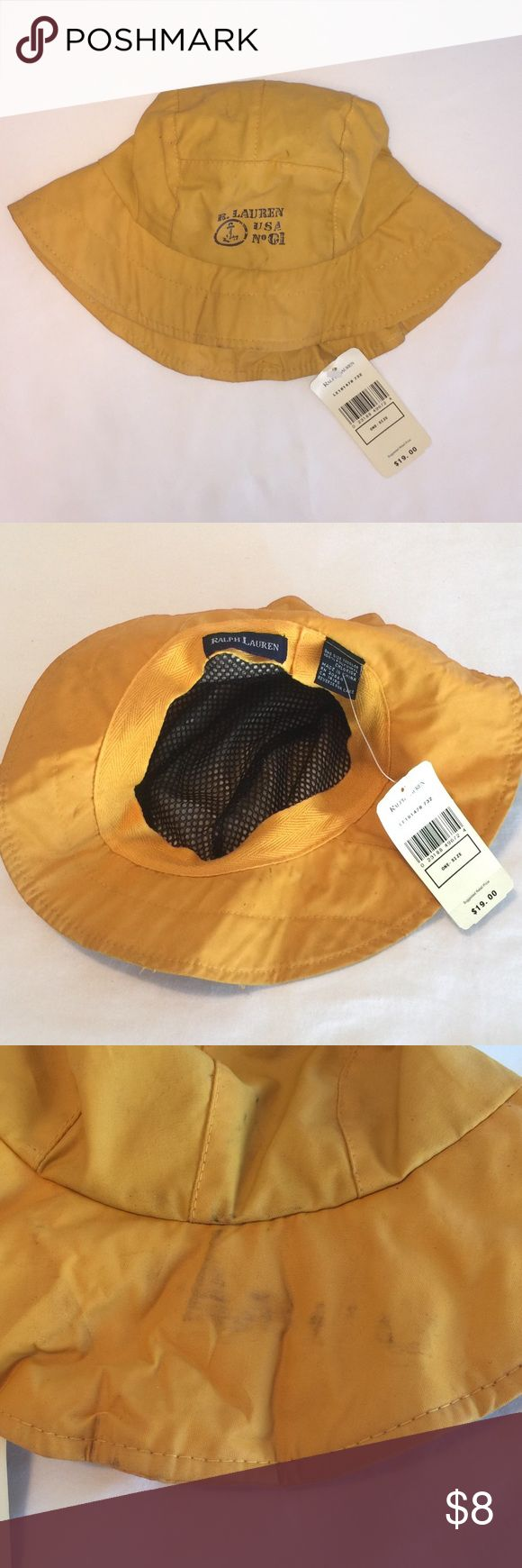Ralph Lauren Fishermans Hat So cute!!!! This is a classic rain hat style and is water repellent. Inside is lined in Knit mesh. This is brand new with tags, but there are some dark smudges on back brim and I've taken that into account with pricing (see 3rd pic). ⚓️ Ralph Lauren Accessories Hats