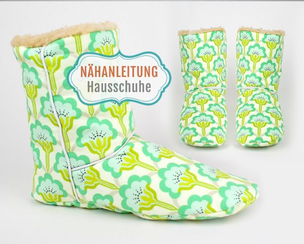 Nähanleitung Boots Hausschuhe Gr. 36 – 43 Schuhe selber nähen