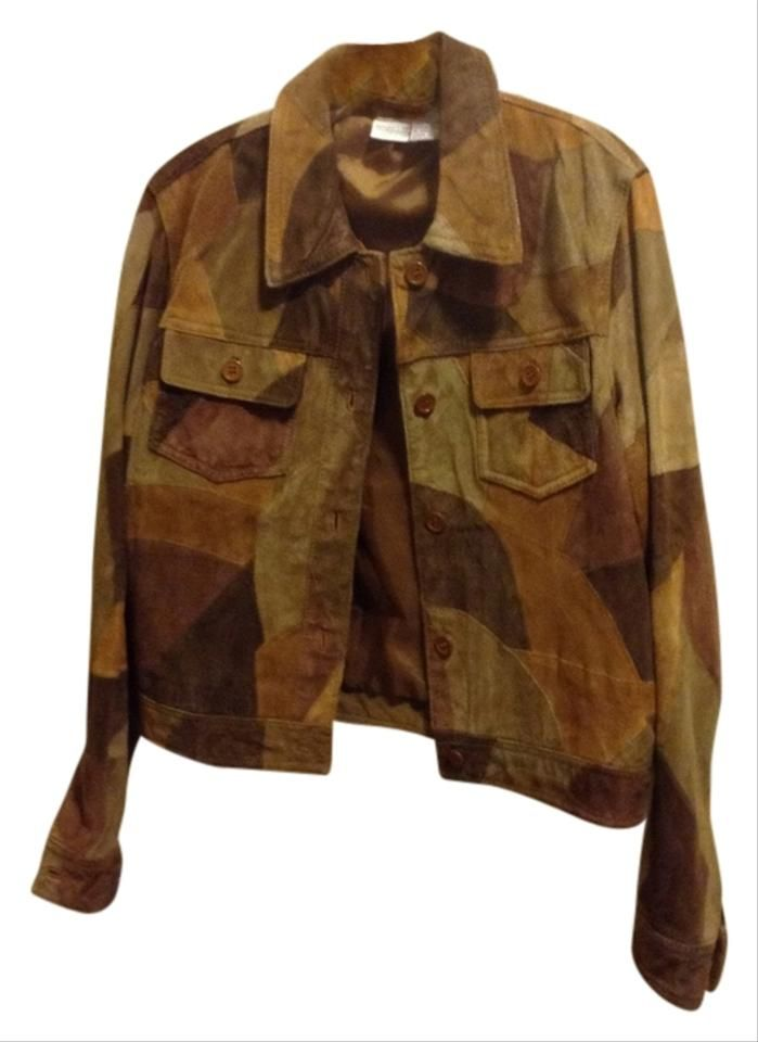 Newport News Browns Tans Easy Style Patchwork Suede Jacket Size 12 Jackets Suede Jacket Button Front Jeans